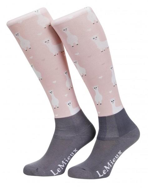 LeMieux Reitstrümpfe Footsies Socks Llama rosa