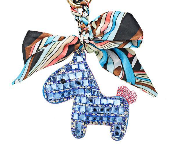 Someh Crystal Horse Keychains Anhänger blau