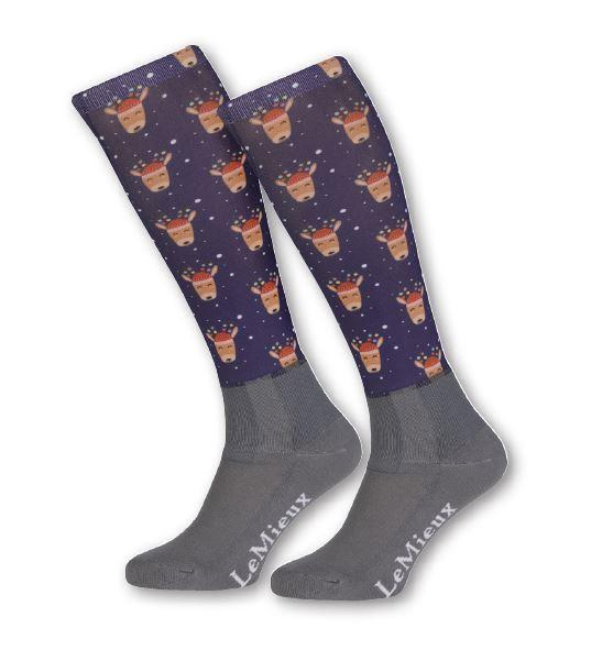 LeMieux Reitstrümpfe Footsie Socks Reindeer blau